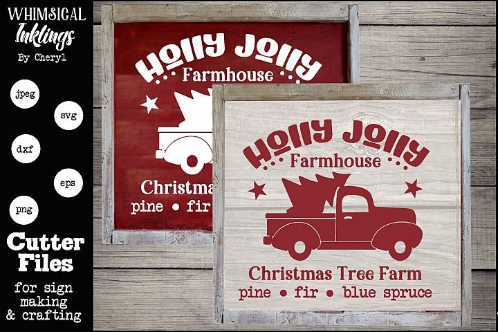 Holly Jolly Farmhouse Christmas Tree Farm-Christmas SVG