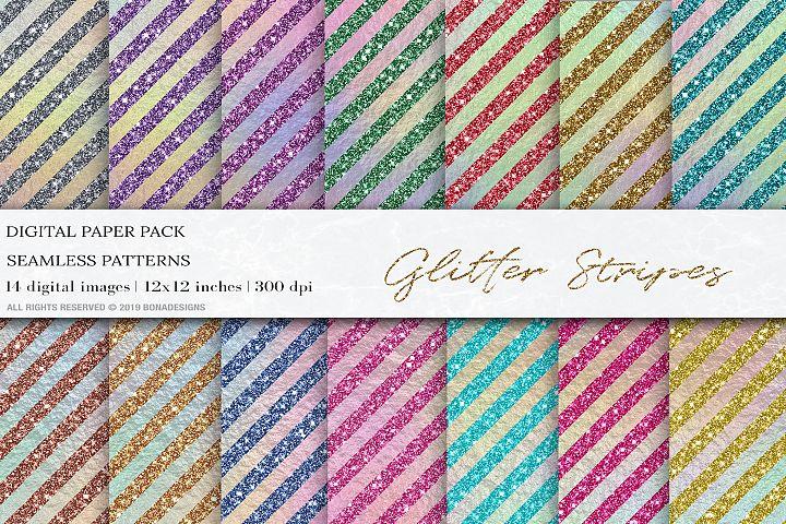Glitter Iridescent Stripes Digital Papers, Geometric Pattern