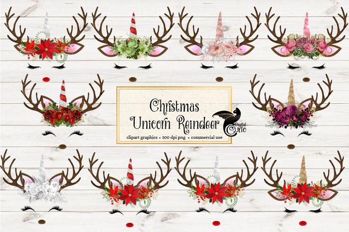 Christmas Unicorn Reindeer Clipart
