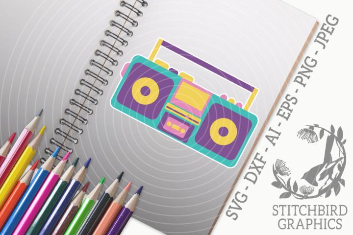 Retro Cassette Radio SVG, Silhouette Studio, Cricut, Eps