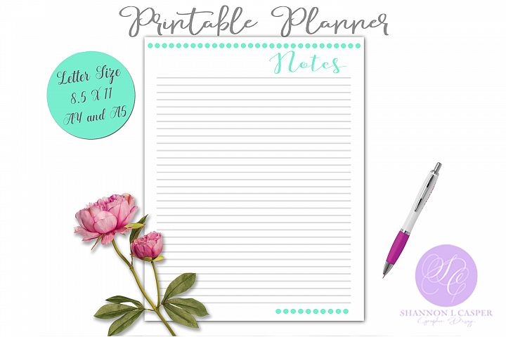 Printable Notes with Lines Planner Page