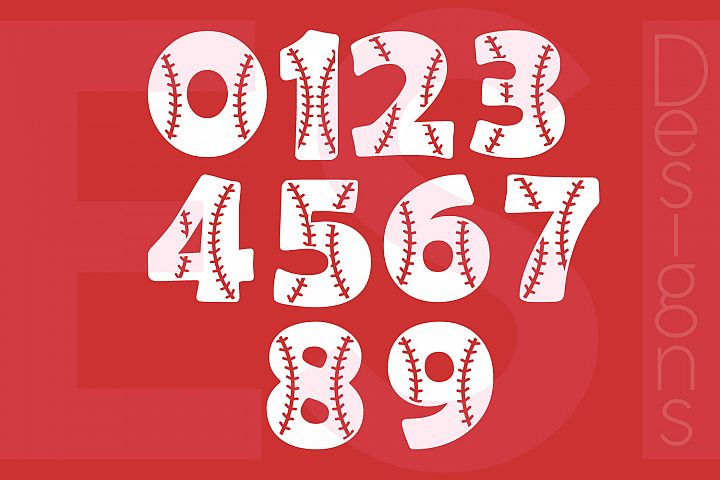Baseball Numbers Design Set - 0-9 example