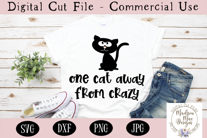 One Cat Away From Crazy SVG, Crazy Cat Lady SVG