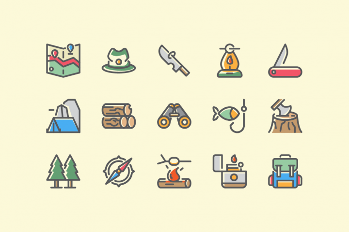 Adventure and Survival Icon Set