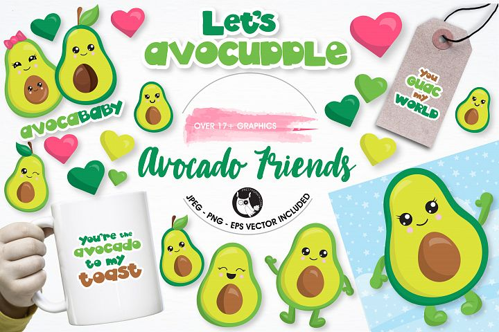 Avocado graphics and illustrations