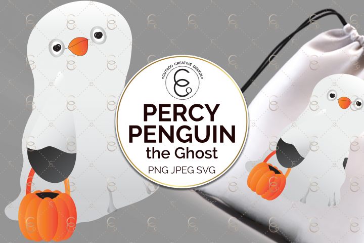 Percy Penguin the Ghost, Halloween, Clip Art