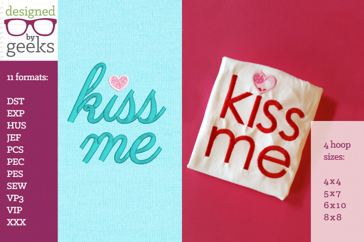 Kiss Me Heart Dot Valentines Day Applique Embroidery Duo