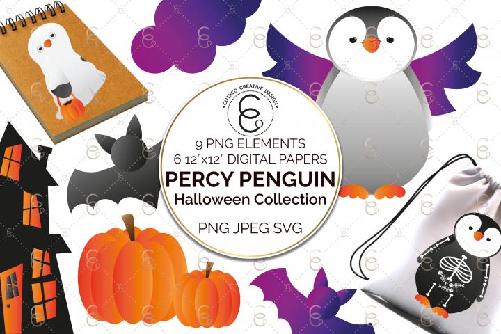 Percy Penguin Halloween Collection Clip Art