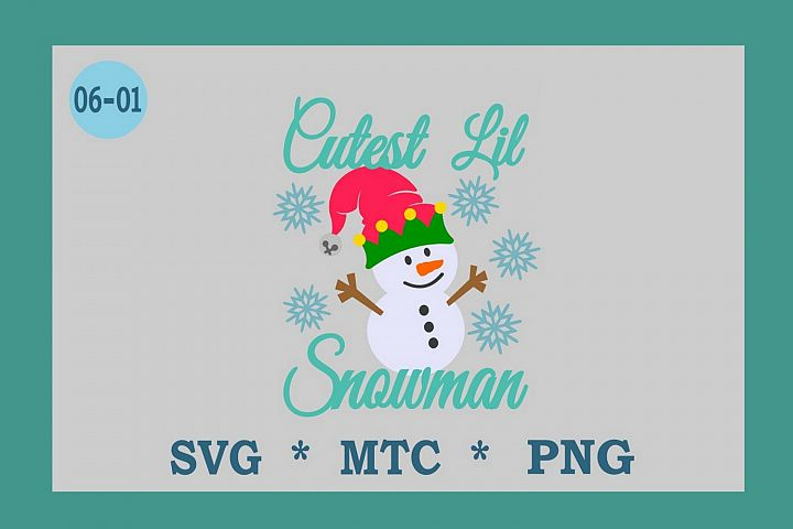 Cutest Lil Snowman w/Hat Design #06-01 Winter SVG Cut File