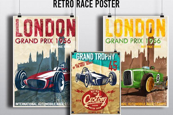 Retro race posters