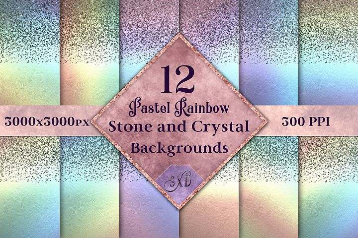 Pastel Rainbow Stone and Crystal Backgrounds - 12 Images