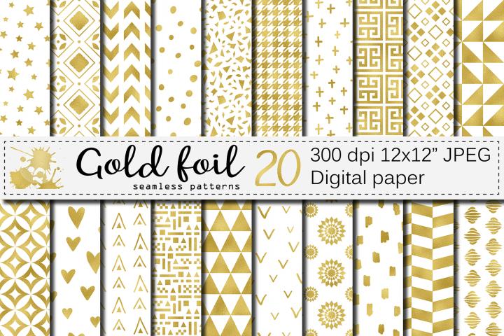 Gold foil seamless geometric patterns / Gold digital paper