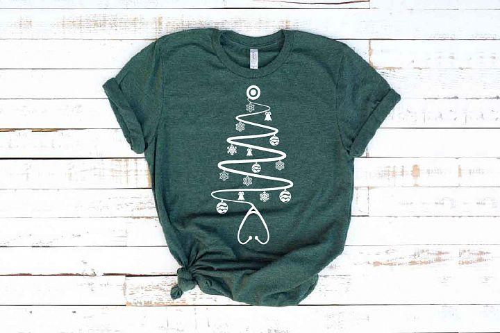 Stethoscope christmas tree SVG Nurse Squad xmas elf 1597s