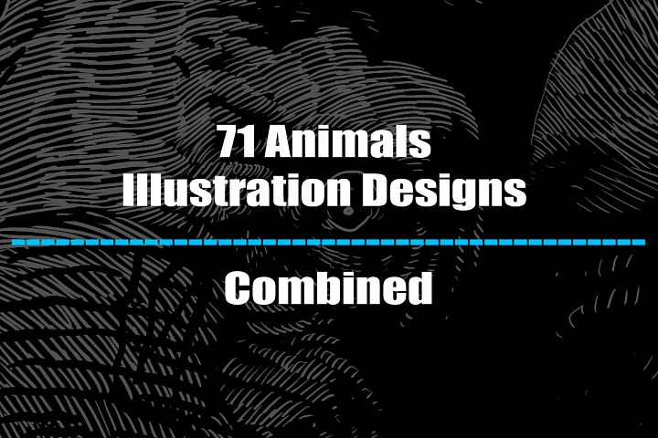 71 Animals illustration designs - Combined