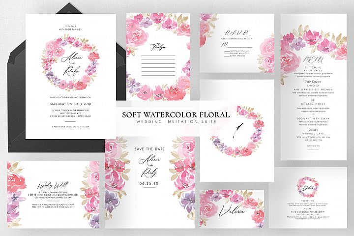 Soft Watercolor Floral Wedding Suite