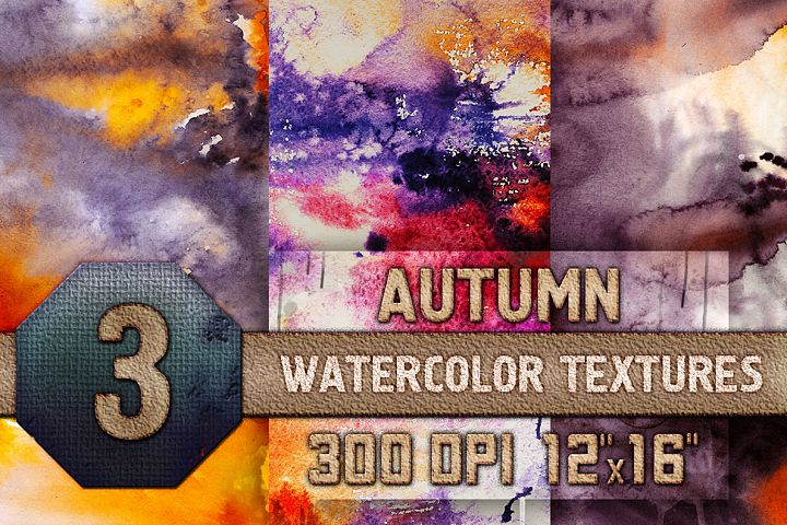 3 Autumn Halloween Digital Papers Watercolor Fall Textures