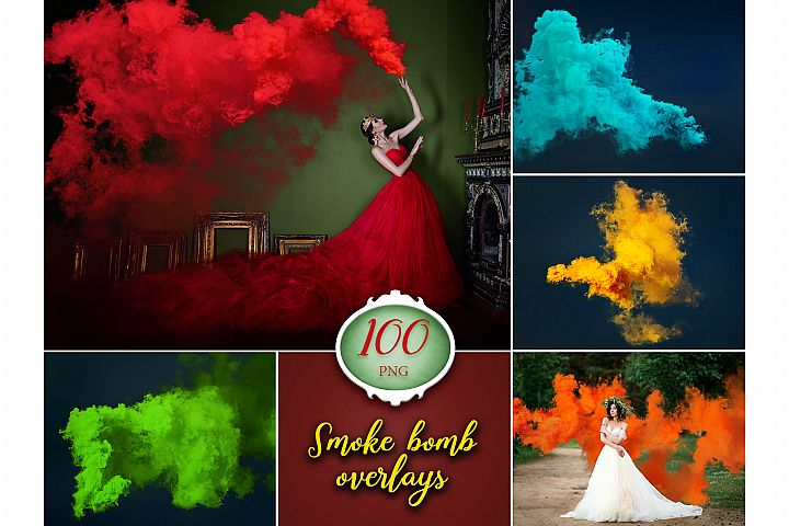 100 Smoke Bomb Photo Overlays