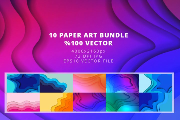10 Paper Art Design Bundle - Backgrounds - Jpg and Vector