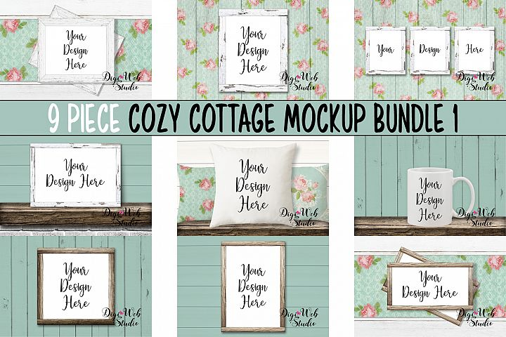 Mockup Bundle - Cozy Cottage Wood Signs, Pillow & Coffee Cup