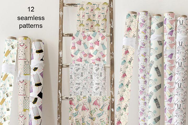 set of 12 trendy seamless patterns