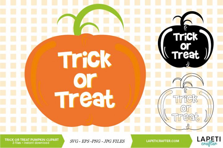 Trick or treat Halloween pumpkin SVG, EPS, JPG, PNG files