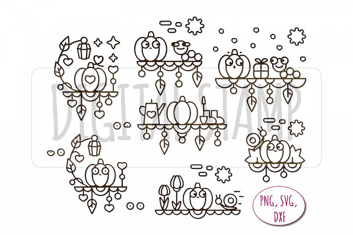 Autumn story. Pumpkin. Digital stamp for self-coloring