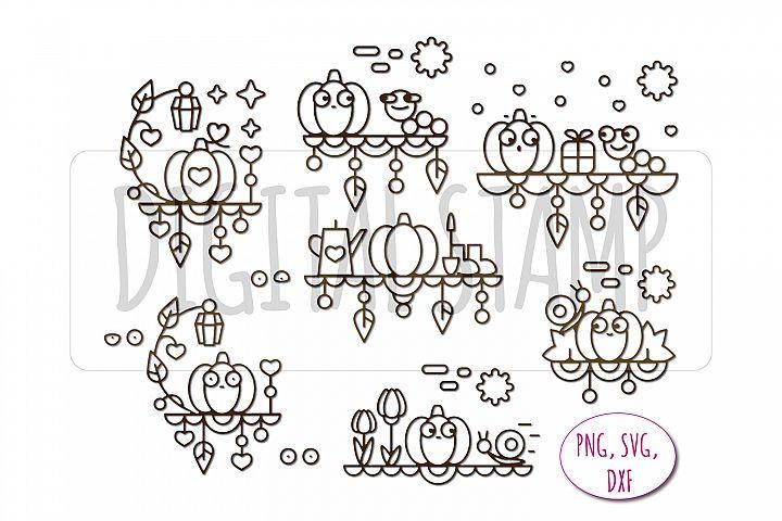 Autumn story. Pumpkin. Digital stamp for self-coloring