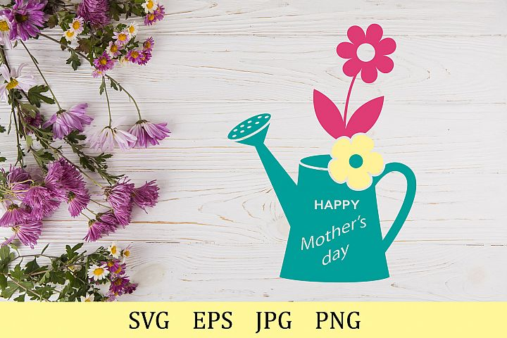 Happy Mothers day, flowers in a watering can, monogram