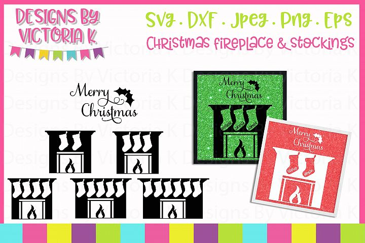 Christmas Fireplace set, SVG, DXF, PNG