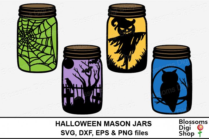 Halloween Mason Jars, SVG, DXF, EPS & PNG files