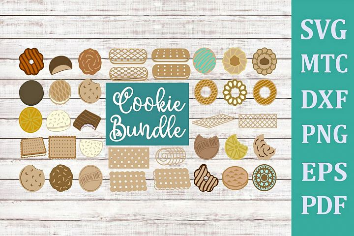 Cookie Bundle 37 Print & Cut SVG Cut File with PNG
