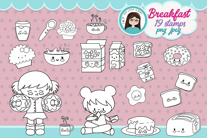 Breakfast Time kawaii Stamp