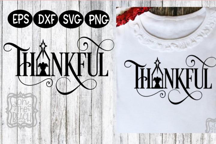 Christmas Thankful SVG Baby Jesus Manger Script