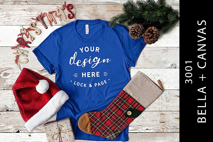 True Royal Xmas T Shirt Mockup Christmas Apparel Bella 3001