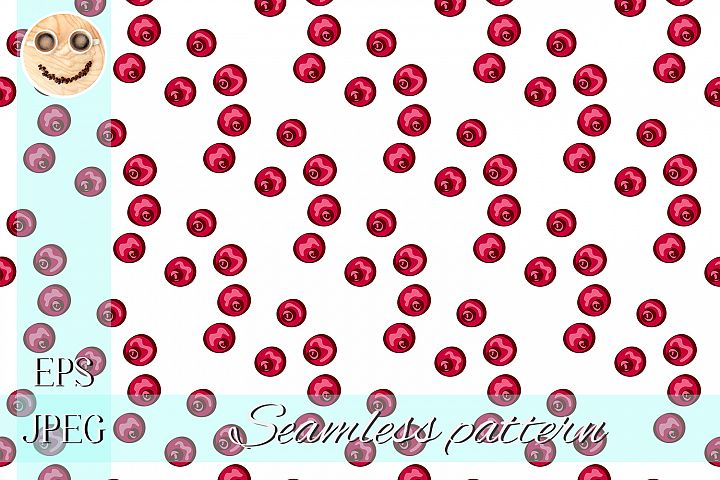 Cranberry on the white vector seamless pattern