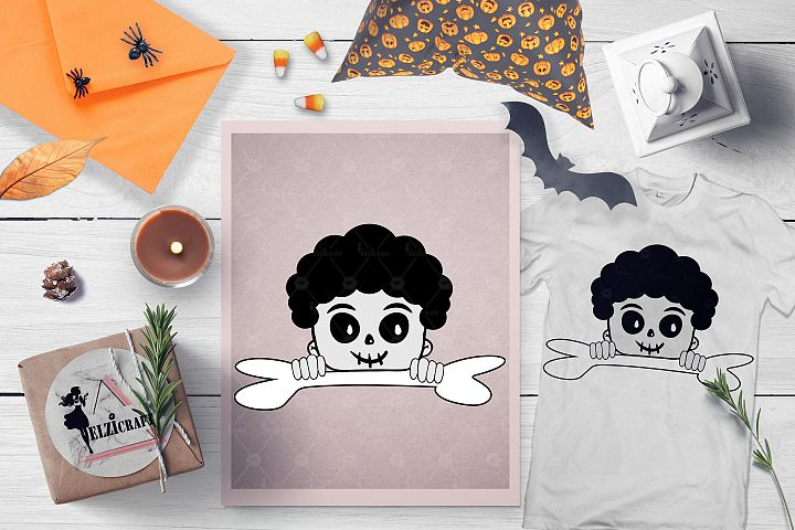 Halloween Afro Peeking Bone Skeleton Boy Face SVG Cut File