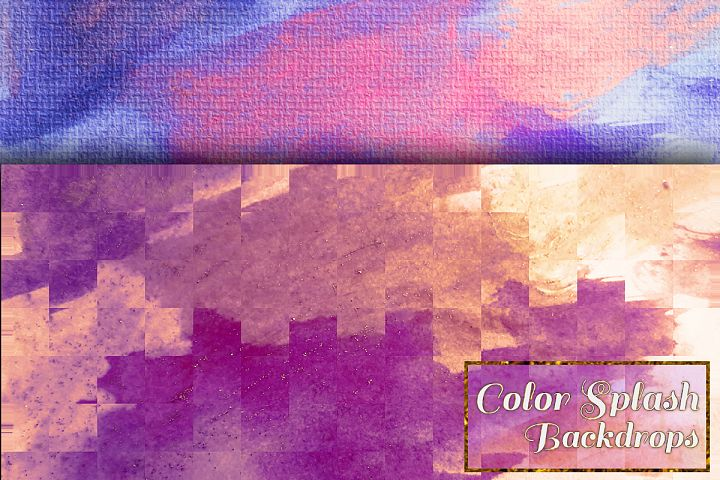 Colorful Splash Backgrounds. Watercolor textured paper pack example image 3