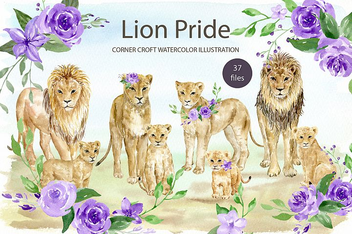 Watercolor clipart lion pride for instant download