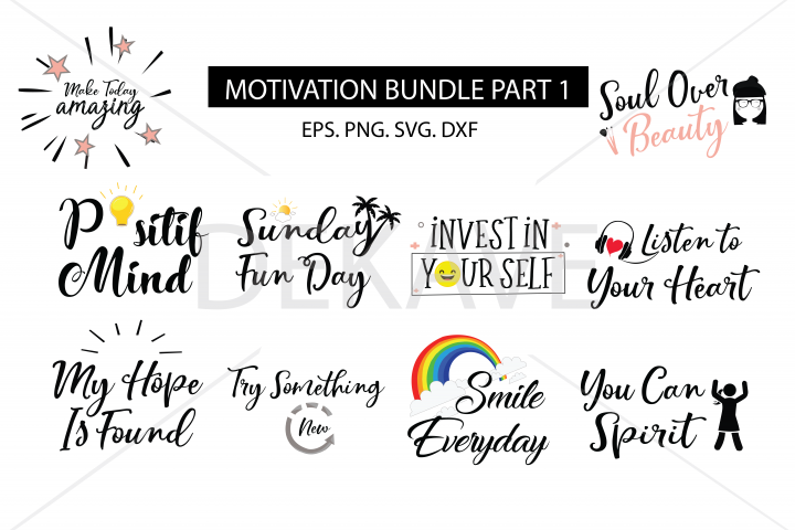 SVG Motivation set, cutting files
