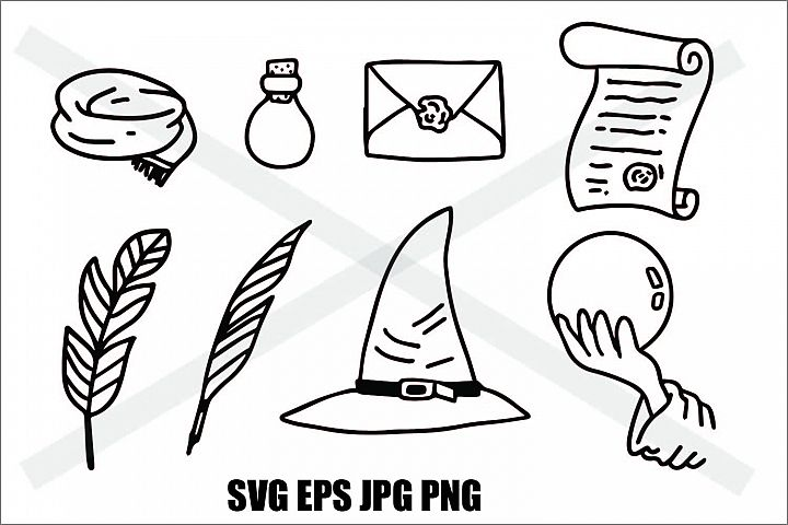Wizard Elements - JPG PNG SVG eps - Doodle Line
