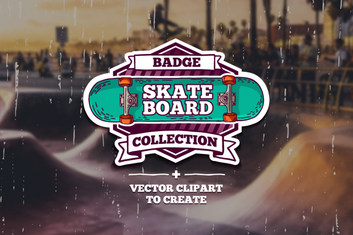 Set of colored skateboard badges