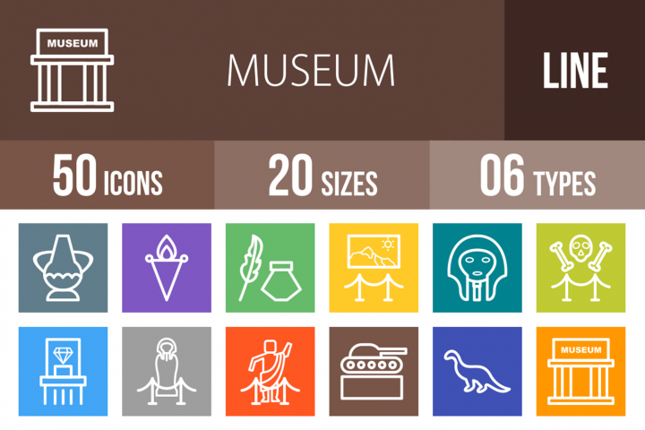 50 Museum Line Multicolor B/G Icons