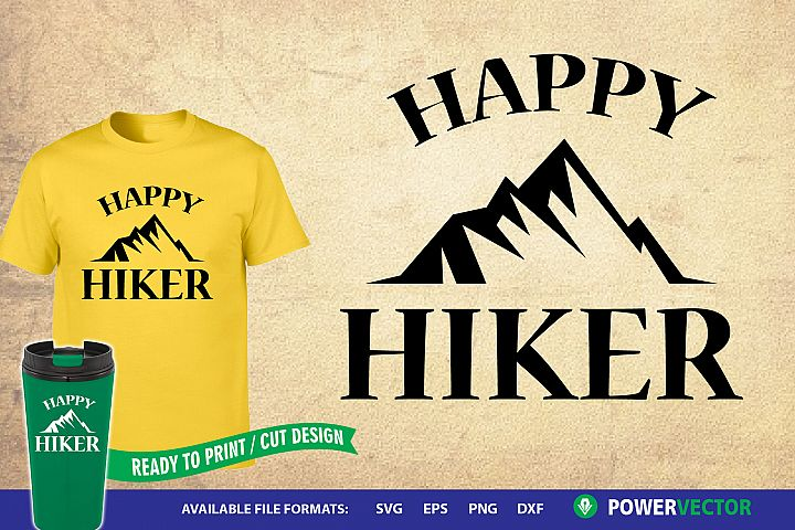 Happy Hiker SVG| Hiking iron on, SVG Cut Files Download