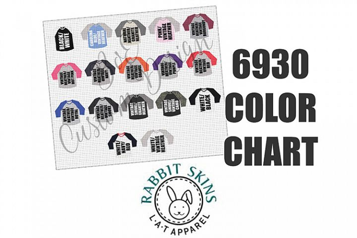 LAT Apparel 6930 Raglan Baseball Shirt Color Chart