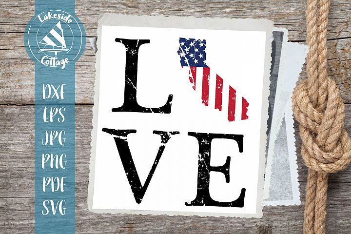 Love California - 4th of July svg - Memorial Day svg dxf eps