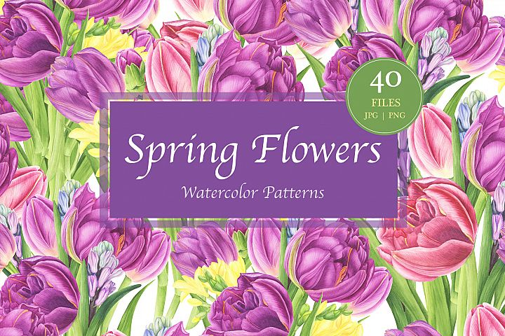 Spring Flowers Watercolor Patterns