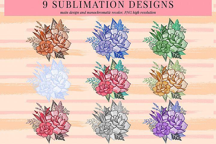 9 floral arrngement 1 sublimation designs, PNG sublimation