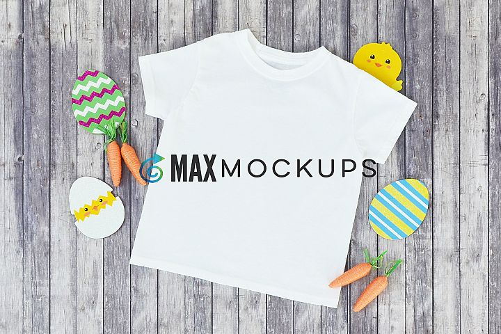Kid shirt Easter mockup, eggs chick, carrots, boy girl