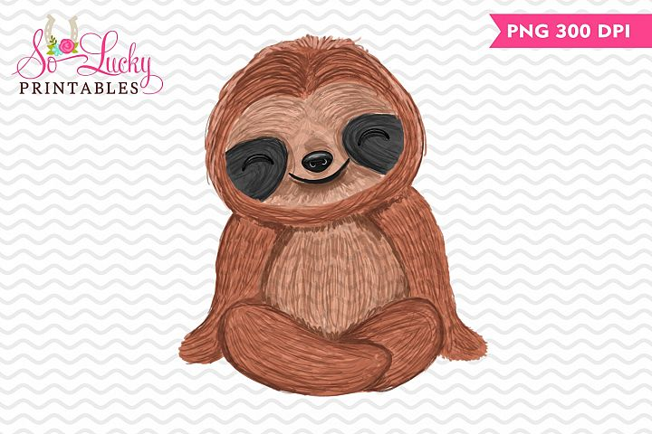 Sitting Sloth painted printable sublimation design