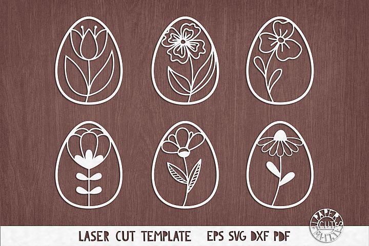 SVG Set of flower easter eggs for Cricut, laser cutting.